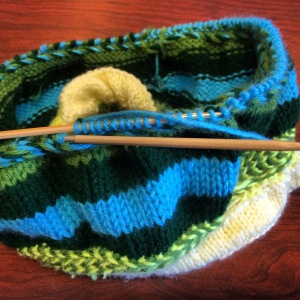 Adding SuperSaver Forest Green and Pale Blue yarn.